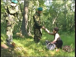 Soldiers receive in nature's garb with a Russian old bitch and group-sex her hard