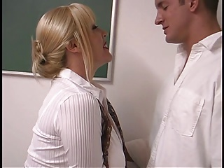Old blonde with heavy pantoons drilled by student in the classroom