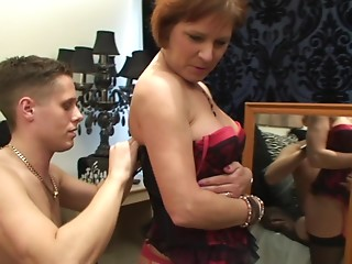 Elderly lady in darksome nylon nylons groans as that babe acquires smashed missionary on the sofa
