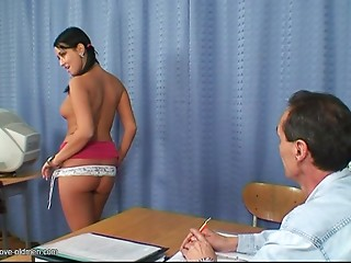 Pigtailed young slut finds gratification in fucking this older stud