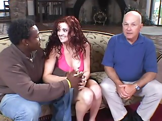Alluring redhead wife is going for a giant one