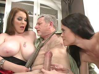 Insatiable harlots share one favourable fellow in a hawt trio sex movie