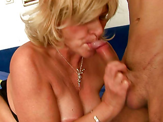 Vehement bosomy old BBW gives a head to skinny short wang of youthful paramour