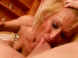 Aged woman with filrhy mind is engulfing schlong deepthroat whilst riding like eager