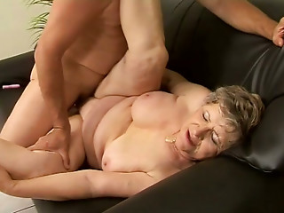 After giving a oral-stimulation aged fatso acquires her aged cookie screwed doggy on daybed