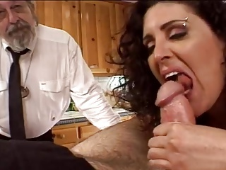 Bruenette Wife Acquires Drilled By Older Dave and Ron in Kitchen