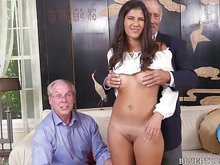 Sexy Latin chick Enjoys Trio With Grandpas