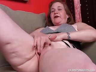 Perverted older spunker bonks her overweight moist snatch for u