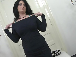 Nasty housewife playing with her hairless slit