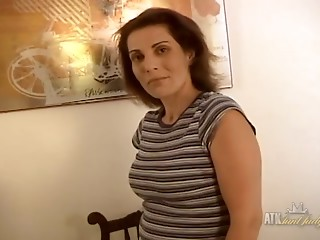 Movie from AuntJudys: Non-professional elder copulates her cum-hole with dildo