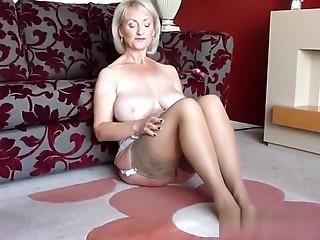 Golden-Haired Big Titty Elder Solo Masturbation