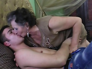 Sexually excited grandma receives drilled by her toyboy
