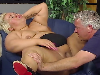 Overweight blond whore rides schlong and acquires her powerful twat licked on ottoman